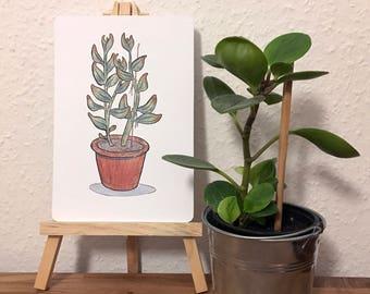 "Flower - Original Drawing by Britta Berdin - 14 x 21cm (5.5x8.2"")"