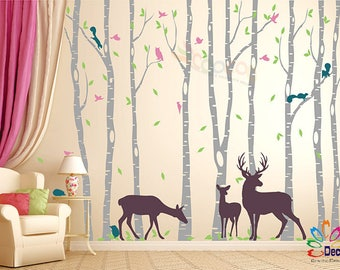 Removable Nursery Birch Tree Forest with Birds fawn doe buck and squirrels (9 trees) DC0128C