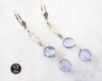 Periwinkle crystal earrings, Antique silver earrings, Silver and blue crystal,  Two Girls Gems