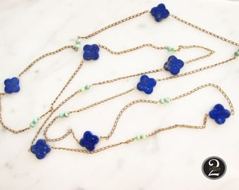 Antique gold chain with Lapis Lazuli beads, long gold chain, Vintage watch chain, lapis, blue gem