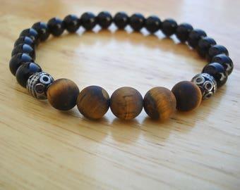 Men's Spiritual Protection, Fortune, Healing Bracelet with Semi Precious Matte Tiger's Eye, Black Jasper, Bali beads - Classy Man Bracelet