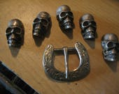 """Skulls and Buckle marked """"Alpaca Mexico"""" Silver maybe  vintage 60s art supply Day of Dead item"""