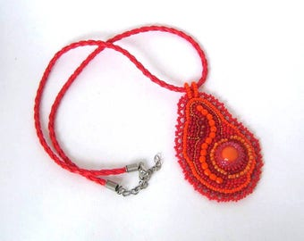 Red necklace Red jewelry Bead embroidered pendant necklace, Seed bead jewelry, boho beaded necklace, red beaded necklace
