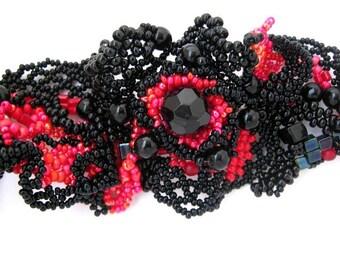 Beaded cuff bracelet, Black and red bracelet, Beaded bracelet Freeform beadwork, Statement Beaded jewelry, Gift for women