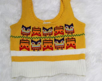 Vintage Growing Girl Size M 10-12 Yellow Neon Knit Sweater Vest
