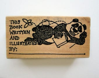 BOOK PANDA Wood Rubber Stamps, Pre-used