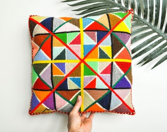 Vintage Colorful Needlepoint Pillow - Decorative Needlepoint Pillow