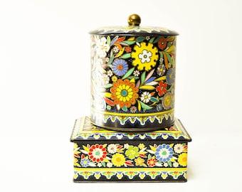 Pair of Black Floral Daher Biscuit Tins