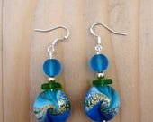 Fathers Day Sale Polymer Clay Earrings: Blue and Green Swirl Earrings