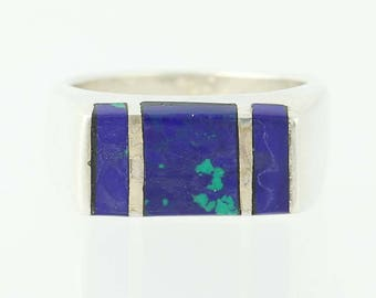 Blue Lapis Lazuli Inlay Ring - Sterling Silver 925 Size 6 G0143