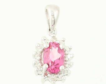 Pink Topaz Halo Pendant - 14k White Gold Diamonds 0.60ctw G1246