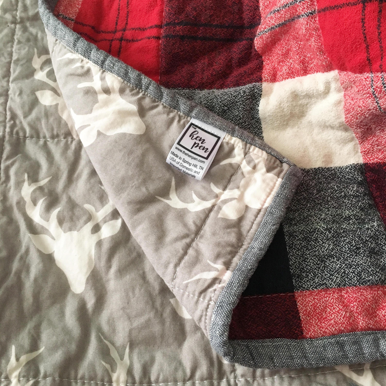 Red Plaid Crib Bedding Quilt Buffalo Plaid Quilt Rustic