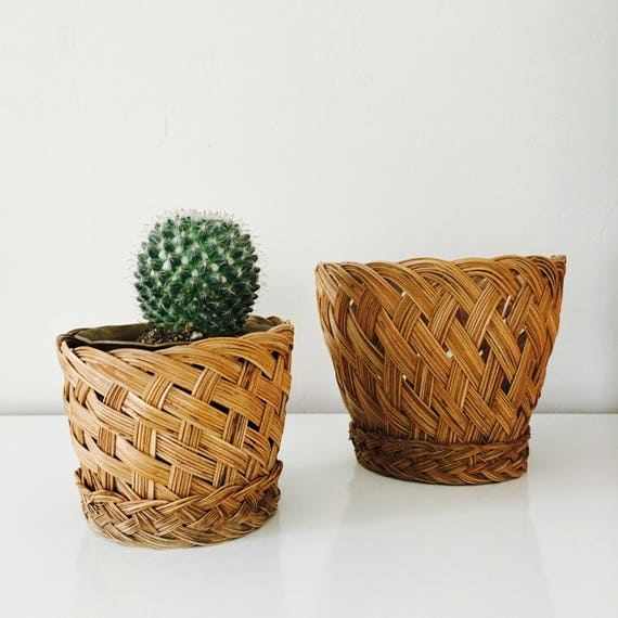 Vintage Woven Baskets Set of (2) Large and Small Braided Plant Baskets Plant Holder Storage Baskets Boho Decor