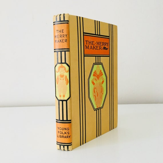Vintage The Merry Maker Book Childrens Storybook Comedy Poems Orange Decorative Hardcover Book Decor