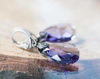 Violet Swarovski Earrings Drop Earrings Vintage Style Boho Crystal Earrings Gift for Mother Birthday Jewelry for Her Purple Crystal Earrings