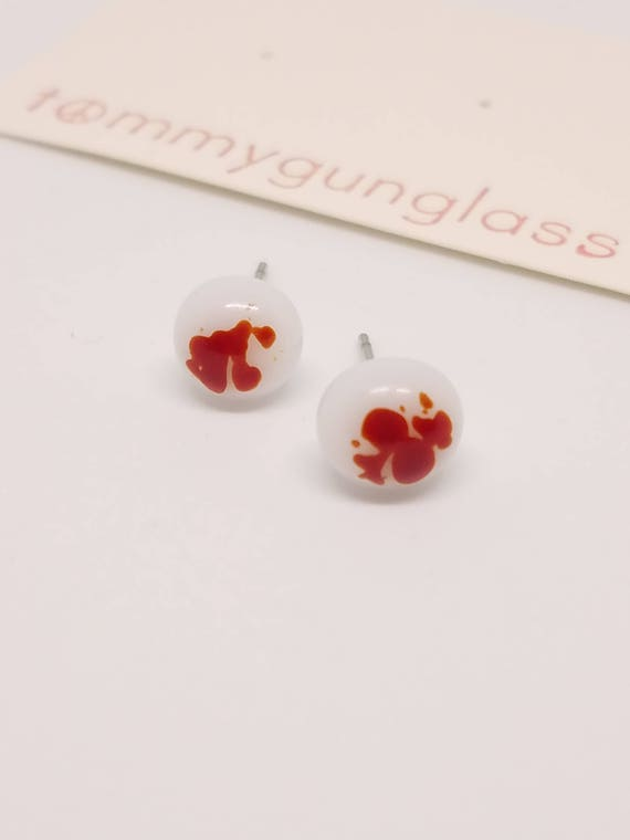 Speckled Red and White Glass Stud Earrings