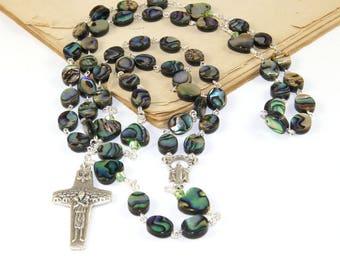 New Zealand Paua Shell Rosary Beads, Natural Abalone Shell