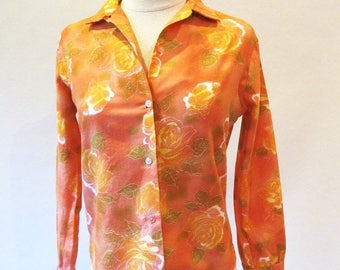 1/2 Off SALE Vintage 60s Shirt, Cotton Orange Blouse, Long Sleeve Button Down Shirt
