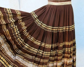 1/2 Off SALE Vintage 50s Patio Skirt, Southwest Full Brown and Gold Fiesta 1950 Mexican Skirt