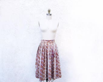 1/2 Off SALE 1950 Cotton Skirt, Full 50s Leaf Print Skirt, Mid Century Fashion