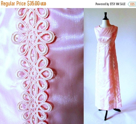 1/2 Off SALE Vintage Pink 60s gown, 1960 Formal Empire Waist Prom Wedding Reception Dress