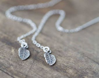 Sterling Silver Leaf Threader Earrings for Women | Gift for Women | Dangle Earrings Jewelry Handmade by Burnish