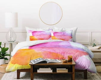 Colorful Pink Orange Watercolor Full Queen King Duvet Cover, Wedding Engagement Gift Bedding Set, New Home Apartment Guest Bedroom Decor