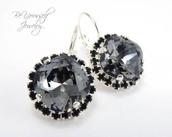 Dark Grey Bridal Earrings Black Bride Earrings Swarovski Crystal Silver Night Cushion Cut Wedding Earrings Charcoal Gray Bridesmaid Gift