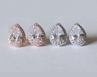Bridesmaids earrings,Hypoallergenic,Rose gold Tear drop CZ earrings,Bridesmaids gift,Cubic Zirconia studs,Gold bridal earrings,Pear CZ studs