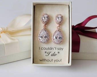 Bridesmaids earrings, Double Tear drop CZ earrings, Cubic Zirconia earrings, Gold Bridal gift, Rose gold Pear CZ earrings, Bridesmaid gift