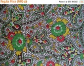 ON SALE Flower print fabric/ vintage paisley style fabric/ vintage mid century floral print fabric yellow brown red green/ 1 yard x 34 1/2""