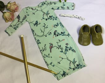 French Sparrow Girls Baby Gown Layette Coming Home Outfit Set Newborn
