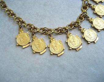 Vintage Accessocraft N.Y.C. Necklace Gold Tone Turtles Tribal Fringe Choker