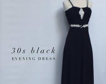 1930s DECO black beaded evening gown- 30s Boardwalk Empire long formal dress- medium