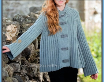 """PDF Knitting Pattern for a Ribbed Flared Swing Jacket/Coat/Cardigan to Fit 30-44"""" Busts - Instant Download"""