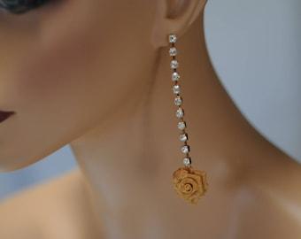 Dangle Earrings, Flower earrings, Crystal and gold Flower Earrings, Gold and crystal Earrings, Gift for her, Drop Earrings, Long earrings