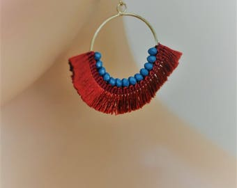 SALE - Dangle Earrings, Cotton Fringe Crescent Drop Earrings, Blue and Red Earrings, Gift for her, everyday use, Holiday Gifts