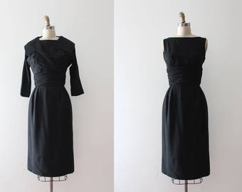 vintage 1950s Jonathan Logan dress // 50s black silk wiggle dress and jacket set