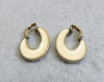 1970's Avon Black and Beige Enamel Hoop Clip On Earrings, Vintage Clip On Earrings, Avon Clip On Hoops