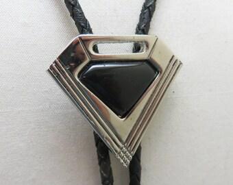 1980s Modern Silvertone Black Lucite Bolo Tie