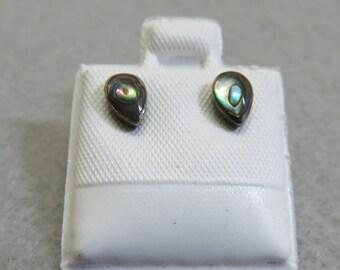 Petite Sterling Abalone Shell Pierced Earrings, Small Teardrop Abalone Earrings