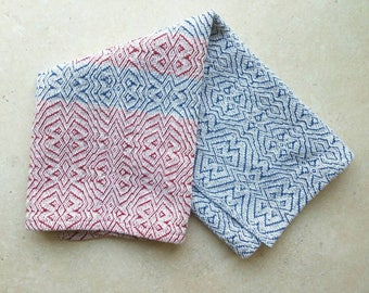 Handwoven Cotton Tea Towel, Red White and Blue Towel, Cotton Guest Towel, Fingertip Towel, Rustic Decor, Kitchen Linens, Housewarming Gift