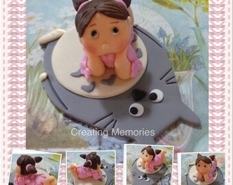 TOTORO and Little Girl Cake topper! Made of Vanilla Fondant  for first Birthday celebration. Excellent choice for your cakes