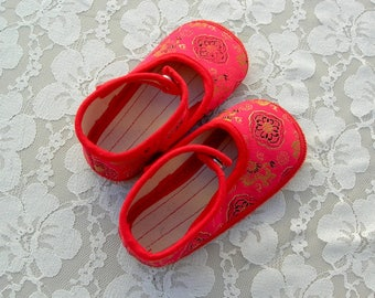 Chinese Toddler Shoes, fancy red satin, canvas soles, unused, like new, vintage