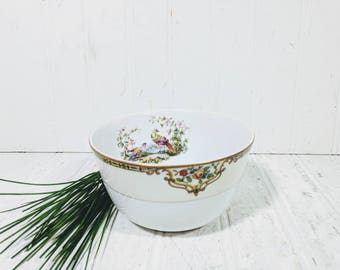 Noritake Morimura Chelsea Pattern Relish Small Deep Serving Bowl Hand Painted Art Deco Fine China Dish with Colorful Peacock Pair Gold Trim