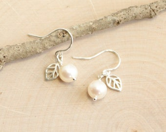 Sterling Silver Freshwater Pearl Earrings with Leaf Detail