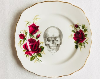 Skull Cake Square Tea Plate Red Rose Gold Flowers Pattern White Vintage China Made in England Wedding Anniversary Gift Wall Art Collage