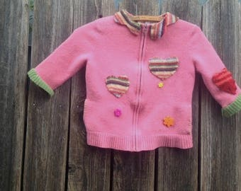 SALE pink felted wool eco upcycled recycled good for the earth flowers camping winter school days child shabby gypsy boho cardigan sweater