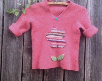 SALE coral pink alaska felted wool eco upcycled recycled good for earth flowers camp winter school child shabby gypsy boho pullover sweater