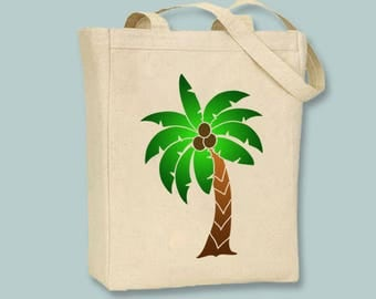 Fun Palm Tree Illustration on Black or Neutral Canvas Tote  - selection of sizes available